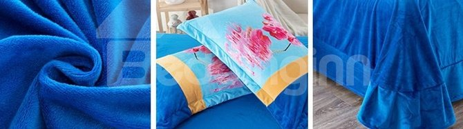 Lovely Pink Orchid Print Coral Velvet 4-Piece Duvet Cover Sets