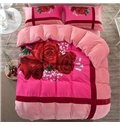 Romantic Red Rose Print Coral Velvet 4-Piece Duvet Cover Sets