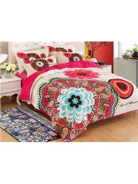 Boho Style Unique Flower 4-Piece Duvet Cover Sets