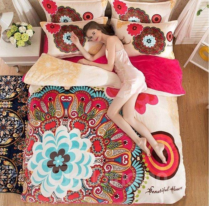Boho Style Unique Flower 4-Piece Duvet Cover Sets