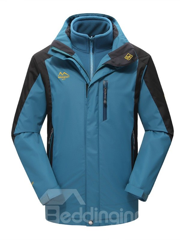 Male Outdoor 3 in 1 Windproof Warm Camping and Hiking Jacket