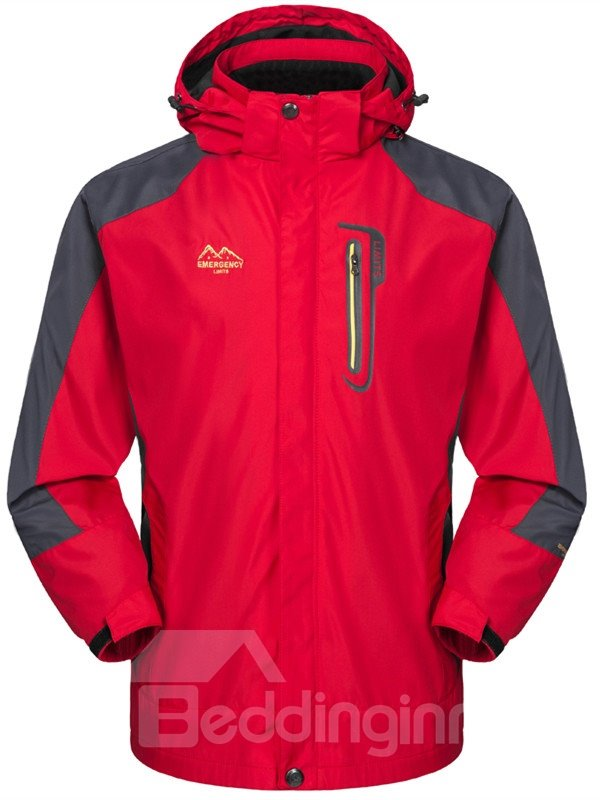 Male Outdoor Light Weight Windproof and Waterproof Front Zipper Camping and Hiking Jacket
