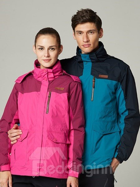 Female 2 Piece 3 in 1 Windproof and Waterproof Warm Couple Outdoor Camping and Hiking Jacket