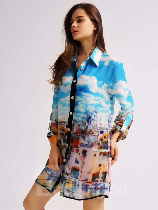 Female Small Town 3D Scenery Pattern Blouse with Long Sleeve UV-Pro Beach Cover-up