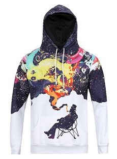 Cool Long Sleeve Smoking Pattern Pocket 3D Painted Hoodie