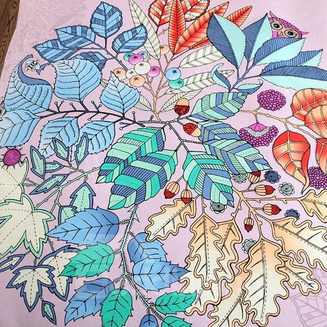 Chic Leaves Print 4-Piece Cotton Duvet Cover Sets
