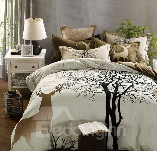 Reindeer and Tree Print Cotton Duvet Cover Sets