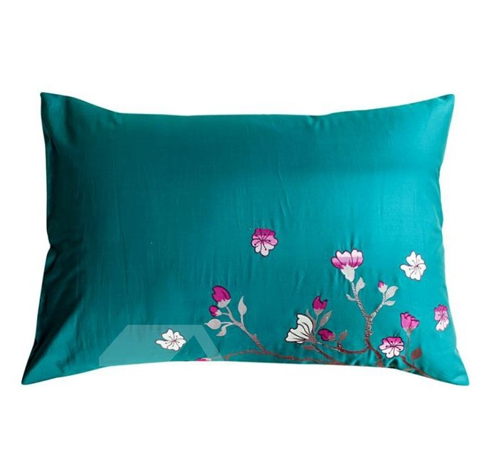 Dragonfly and Flower Embroidery Turquoise 4-Piece Cotton Duvet Cover Sets
