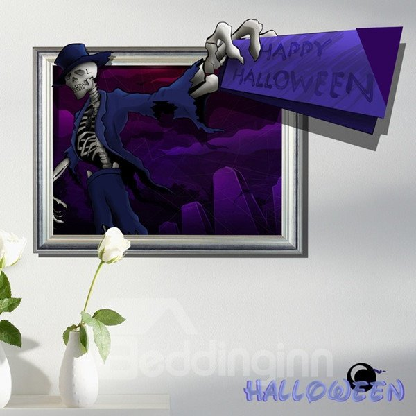 Halloween Decorative Human Skeleton Pattern 3D Wall Stickers