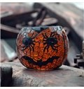 Round Shape Glass Spider and Bat Pattern Halloween Decoration Candle Holder
