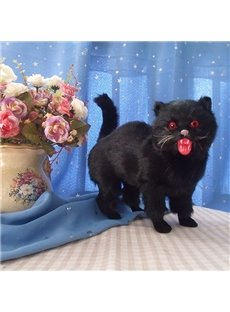 Black Plastic Artificial Cat Halloween Desktop Decoration