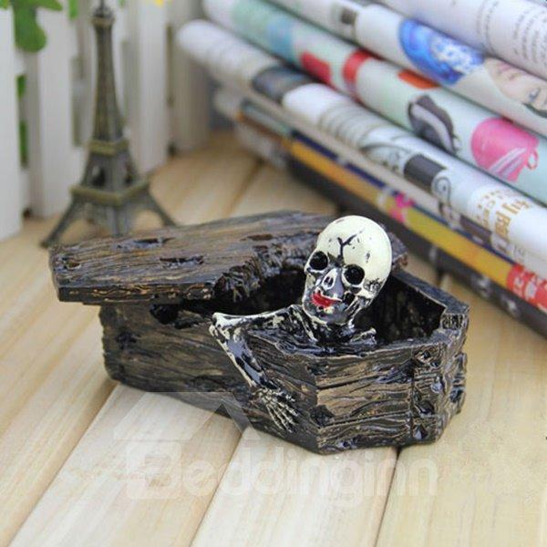 Modern Design Resin Skull in Coffin Shape Ashtray Halloween Desktop Decoration