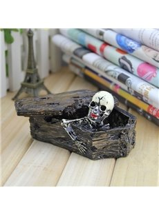 Modern Design Resin Skull in Coffin Shape Ashtray Halloween Desktop Decoration
