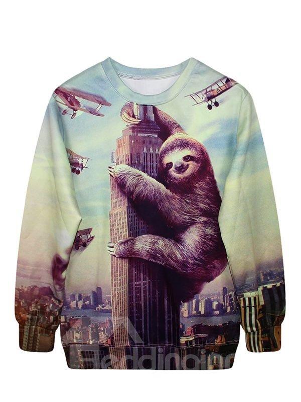 Long Sleeve Sloth with Buildings Pattern 3D Painted Hoodie