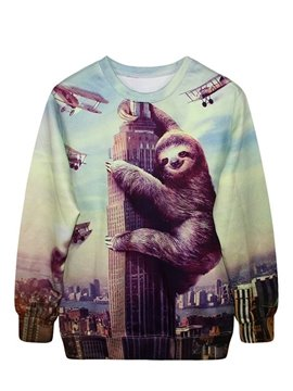 Long Sleeve Sloth with Buildings Pattern 3D Painted Hoodie