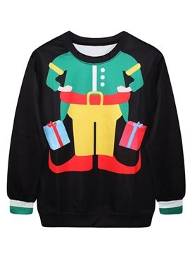 Pretty Christmas Style Long Sleeve Elf Costume Pattern 3D Painted Hoodie