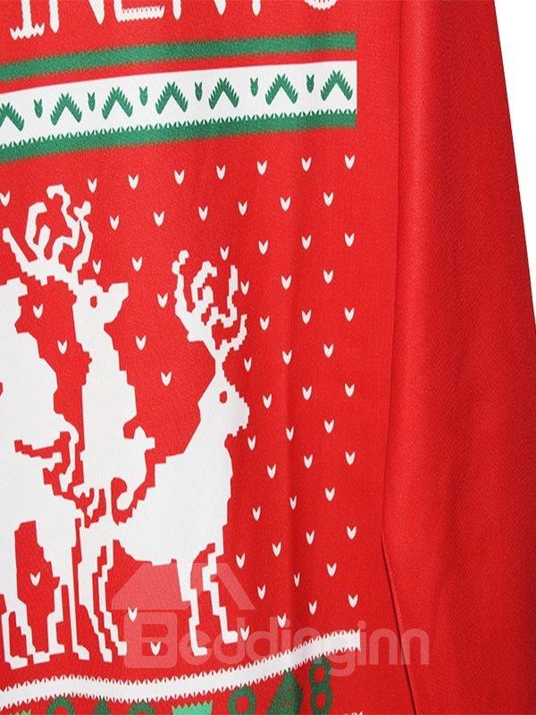 Christmas Style Long Sleeve Elks Pattern Red 3D Painted Hoodie