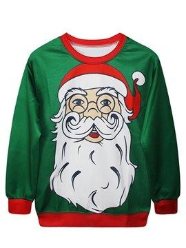 Christmas Style Long Sleeve Santa Claus Pattern Green 3D Painted Hoodie