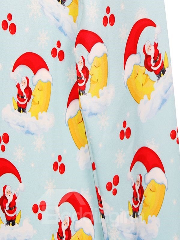 Cute Christmas Style Santa Claus and Moon Pattern 3D Painted Hoodie