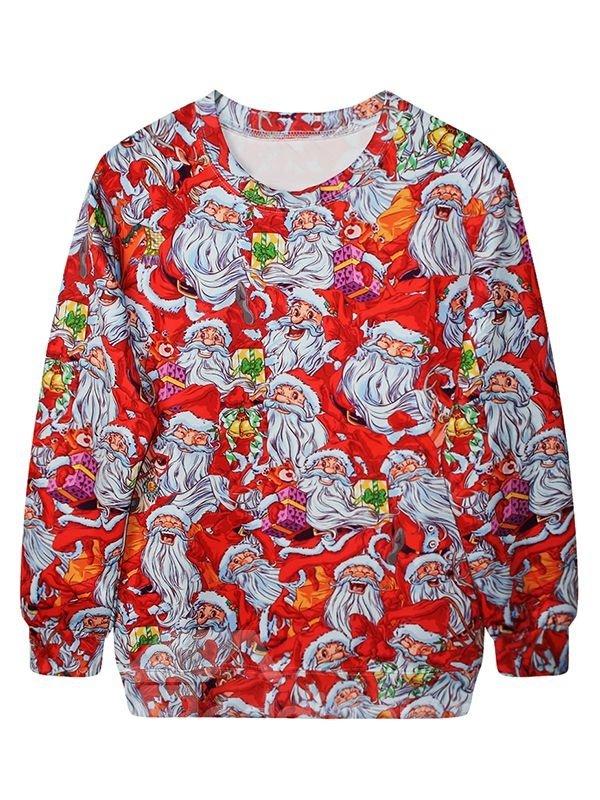 Christmas Style Long Sleeve Santa Claus Pattern 3D Painted Hoodie