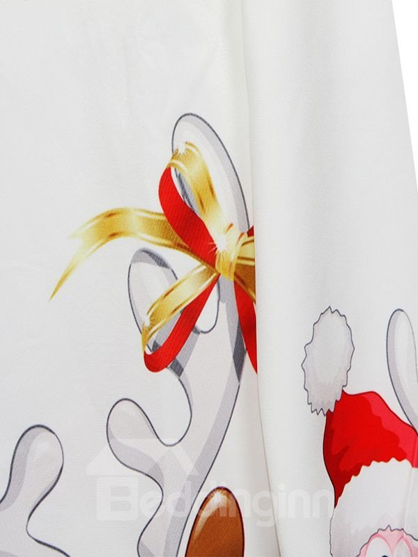 Concise Christmas Style Long Sleeve Cartoon Pattern 3D Painted Hoodie