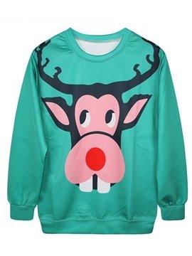 Christmas Style Long Sleeve Elk Pattern 3D Painted Hoodie