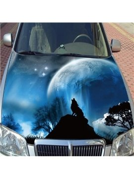 Magic Beautiful Blue Sky Scenery With Wolf Roar Car Sticker