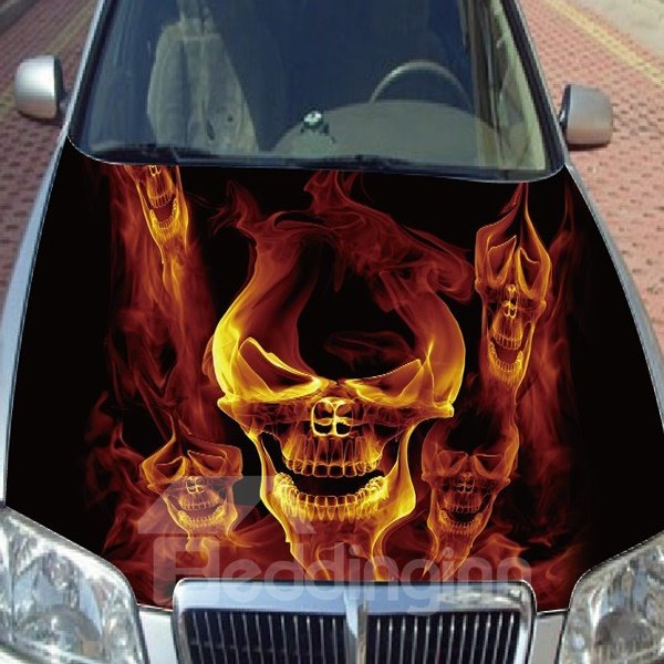 Cool Fire Burning Skull Style Popular Car Sticker