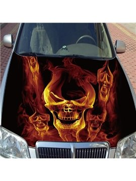 Cool Fire Burning Skull Style Popular Car Sticker