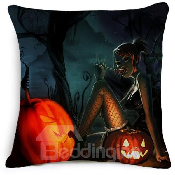 Pumpkin Halloween Party With Cool Rascal Car Pillow
