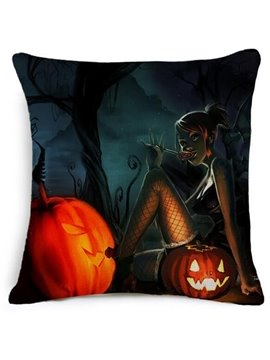 Pumpkin Halloween Party With Cool Rascal Car Pillow
