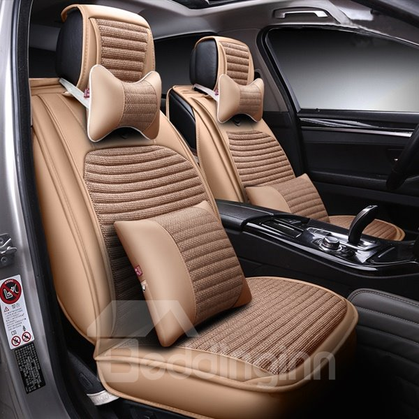 Simplistic Strips Pattern With Streamline Trims Universal Five or Seven Car Seat Cover