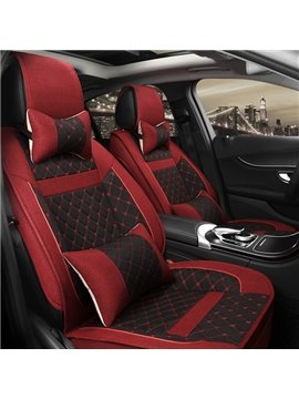 Fashional Red Mixed Black Design Sport Style Flax Material Universal Five Seven Car Seat Cover