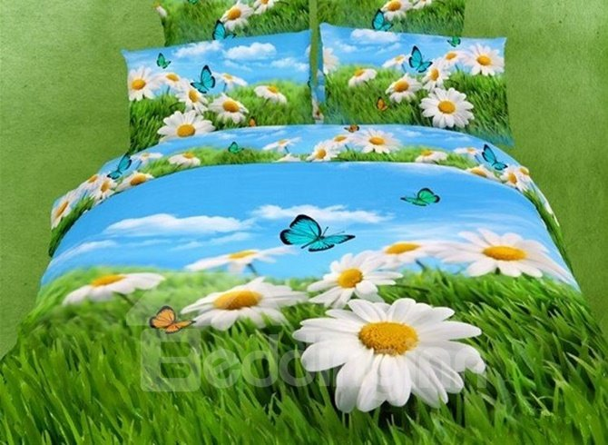 Fresh Leucanthemum Paludosum and Butterfly Print 4-Piece Cotton Duvet Cover Sets