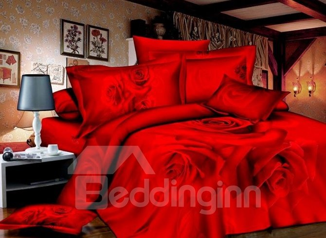 Charming Red Rose Print 4-Piece Cotton 3D Duvet Cover Sets