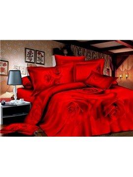 Charming Red Rose Print 4-Piece Cotton 3D Duvet Cover Sets