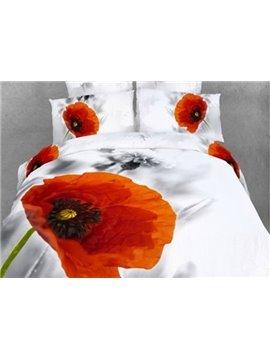Lifelike 3D Poppy Printed 4-Piece Cotton Duvet Cover Sets