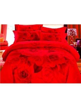 Wonderful Red Rose Print 4-Piece Cotton 3D Duvet Cover Sets