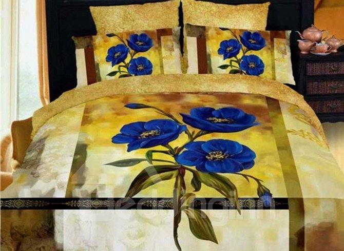 Fancy Blue Pansy Print 4-Piece Cotton 3D Duvet Cover Sets