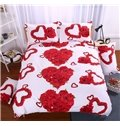 Beautiful Heart-shaped Red Rose Print 4-Piece Polyester Duvet Cover Sets