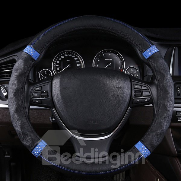 Fantastic Sport Design With Blue Decoration Car Steering Wheel Cover