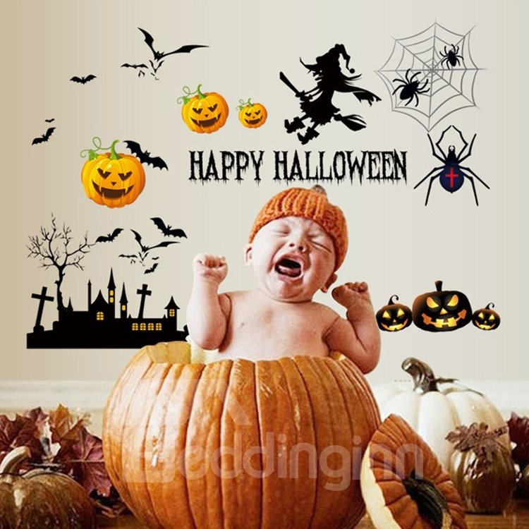 Amusing Simple Pumpkin and Bat Pattern Halloween Decoration Wall Stickers