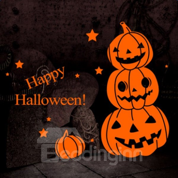 Simple Happy Halloween Pumpkin Pattern Decorative Wall Stickers