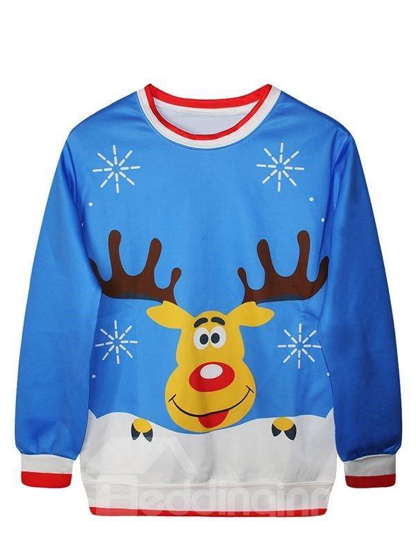 Christmas Style Long Sleeve Cartoon Elk Pattern 3D Painted Hoodie