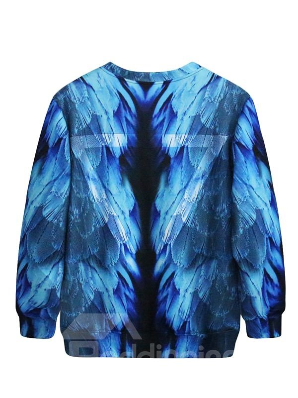Attractive Long Sleeve Blue Feather Pattern 3D Painted Hoodie