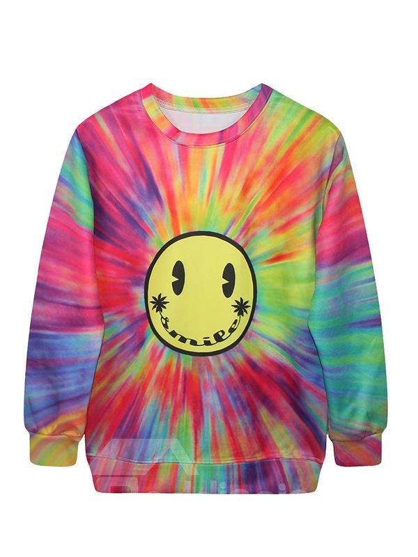 Multicolor Long Sleeve Smile Pattern 3D Painted Hoodie