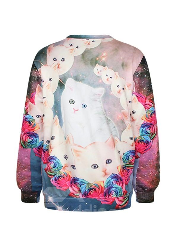 Amazing Long Sleeve Cat with Rose Pattern 3D Painted Hoodie