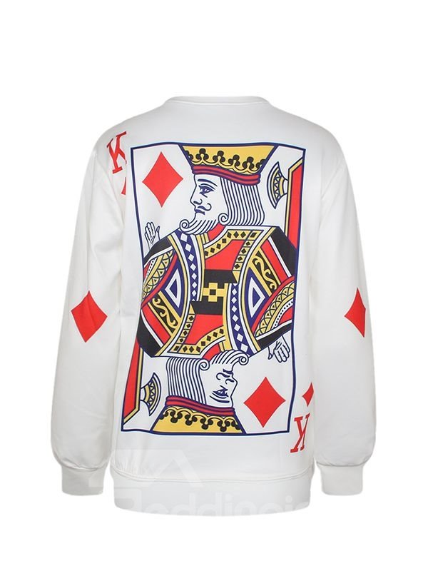Popular Long Sleeve Poker Pattern 3D Painted Hoodie