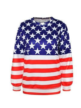 Fashion Long Sleeve American Flag Pattern 3D Painted Hoodie