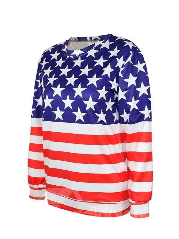 Fashion Long Sleeve American Flag Pattern 3D Painted Hoodie